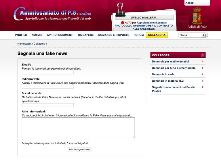 Screenshot von der Plattform der italienischen Polizei