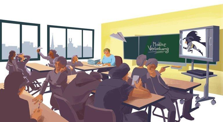 Zeichnung von Schülern, die im Klassenraum toben. Im Hintergrund läuft ein Fernseher.