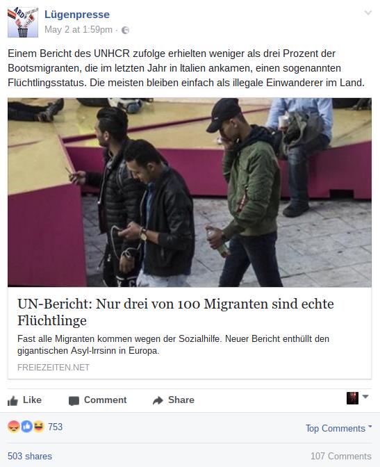 """Screenshot der Facebook-Seite """"Lügenpresse"""" am 16.05.2017"""