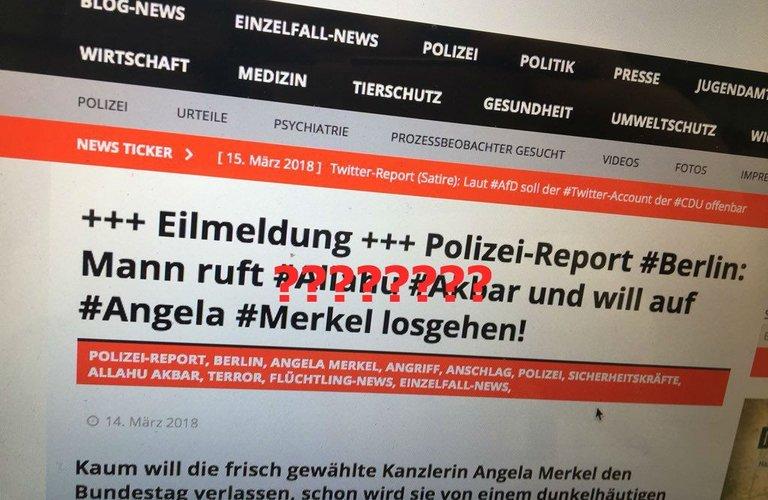 Sicherheitskräfte überwältigen Mann in der Nähe von Merkel