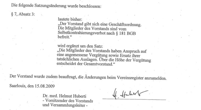 Auszug Vereinsregister mit Paragraphen, die in Vereins-Satzung geändert wurden.