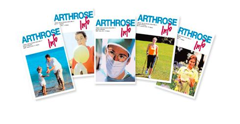 Vier Titelbilder der Arthrose-Info
