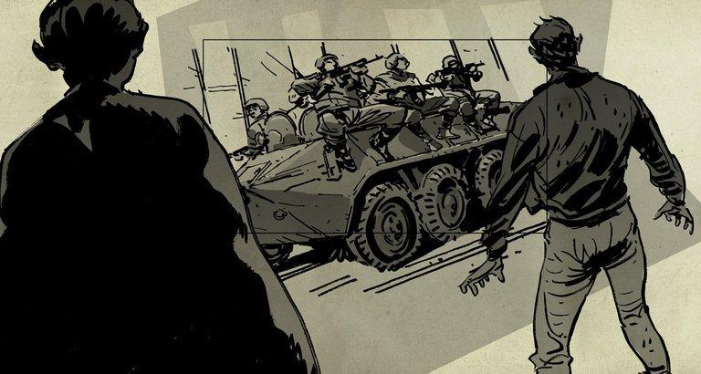 Panzer rollen auf den Barbur-Platz. Die Sicherheitskräfte eröffnen ohne Warnung das Feuer. Hunderte werden erschossen. Zeichner: Vincent Burmeister