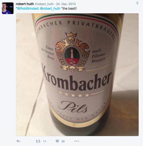 Ein Krombacher Bier geöffnet