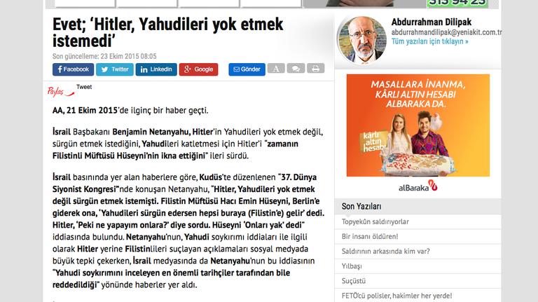 """Abdurrahman Dilipak """"Ja; Hitler wollte die Juden nicht vernichten"""""""