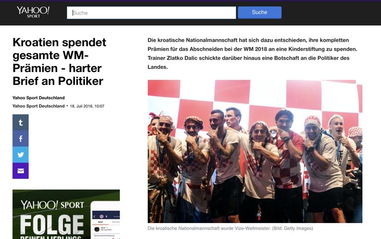 Nein Die Kroatische Nationalmannschaft Spendet Ihr Wm Preisgeld Nicht