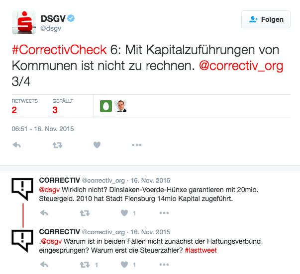 Screenshot von Tweets des DSGV mit dem Hashtag CORRECTIV Check und einer Nachfrage von Correctiv.