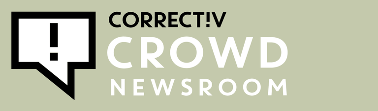 Logo des Crowd.Newsroom. Links das Correctiv-Logo mit dem Ausrufezeichen. Rechts der Schriftzug Crowd.Newsroom.