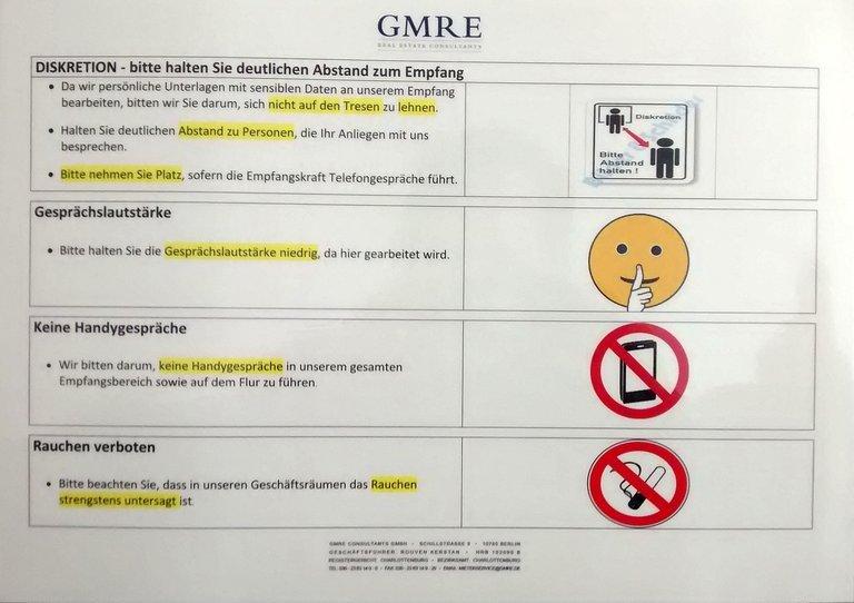 Hausordnung für das Büro der Hausverwaltung GMRE