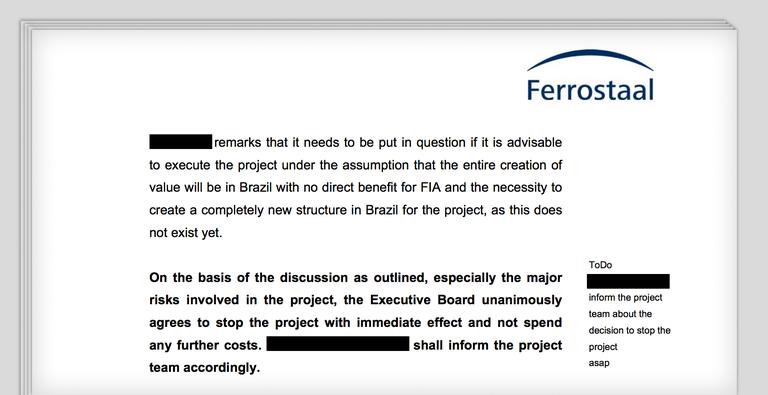 Protokoll einer Vorstandssitzung von Ferrostaal