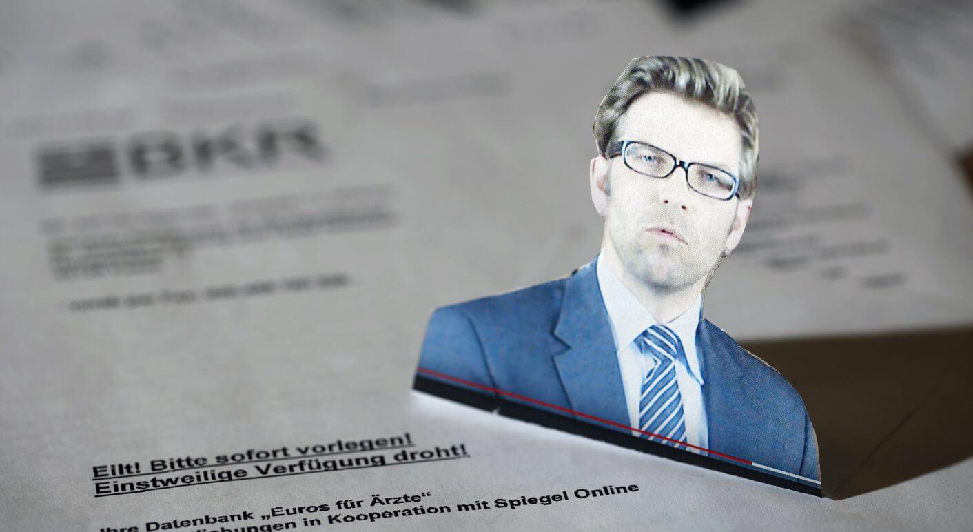 Anwalt Sascha Giller in einem YouTube-Video seiner Kanzlei vor den Anwaltsschreiben von BKR (Collage); Bildquelle: BKR-Youtube-Kanal