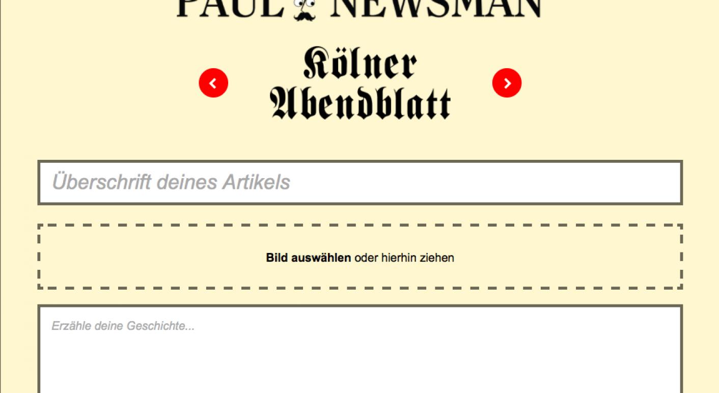 """Jeder kann selbst Artikel erstellen – eigentlich zum Spaß. (Screenshot von  der Seite """"Paul Newsman"""")"""