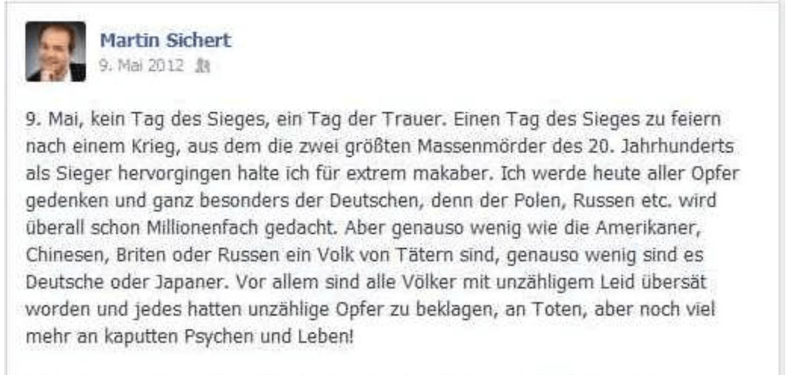 Screenshot des Facebook-Posts von Sichert, 9. Mai 2012