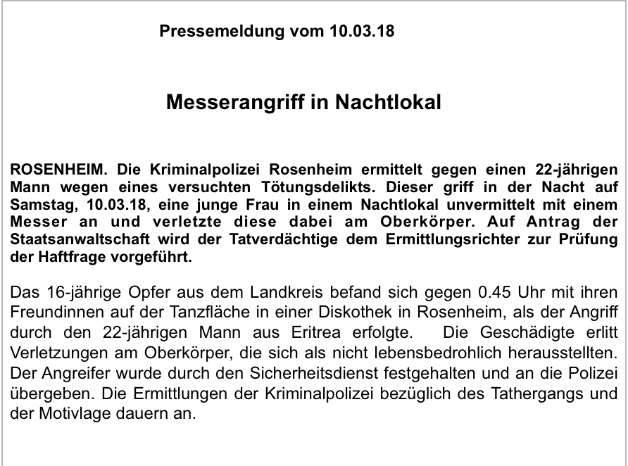 Statement der Polizei Rosenheim. Screenshot: CORRECTIV