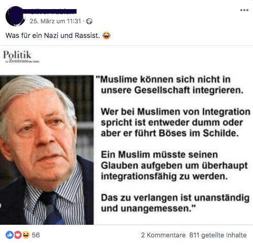 Keine Belege Dafür Dass Helmut Schmidt Das über Muslime