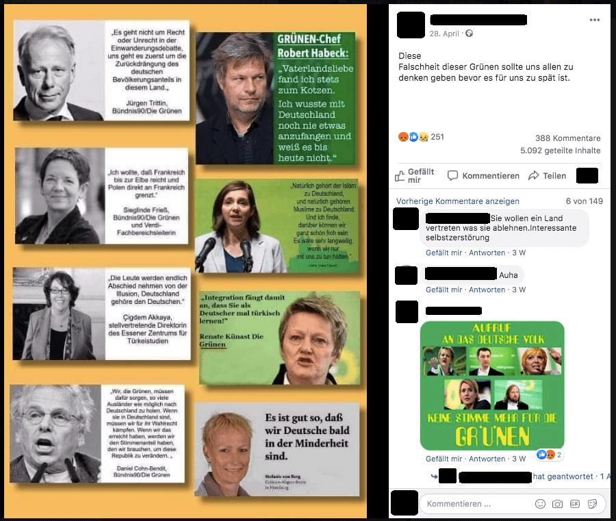 Collage Mit Falschen Zitaten Von Grünen Politikern Im Umlauf