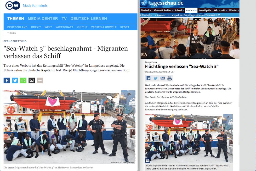 """Doch, deutsche Medien haben dieses Bild von Menschen auf der """"Sea-Watch 3"""" gezeigt"""