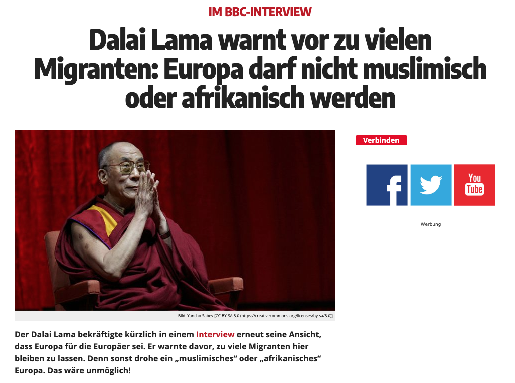 Was der Dalai Lama über Migration und Zuwanderung in Europa sagt