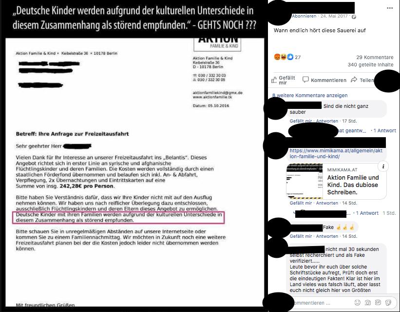 """Dieser Brief von der angeblichen Organisation """"Aktion Familie & Kind"""" ist eine Fälschung"""