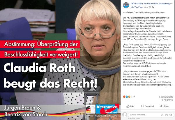 Claudia Roth hat nicht das Gesetz gebrochen, als sie den Bundestag trotz weniger Anwesender für beschlussfähig erklärt hat