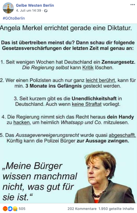 """Was dürfen Polizei und Regierung? """"Gelbe Westen Berlin"""" verbreiten Behauptungen, die Gesetzesänderungen 2017 dramatisieren"""