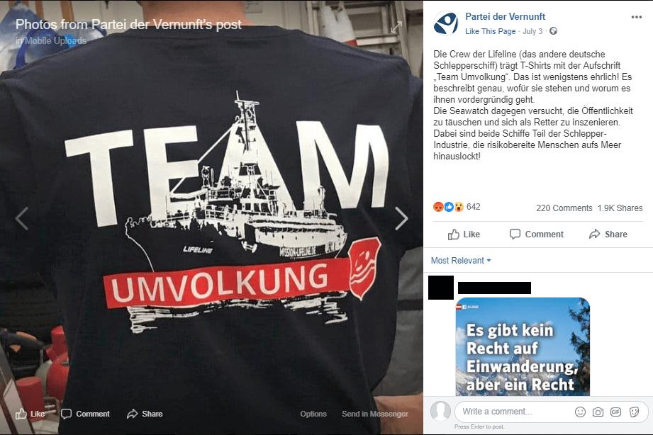 """Ja, """"Mission Lifeline"""" hat T-Shirts mit der Aufschrift """"Team Umvolkung"""" gedruckt – sie ist satirisch gemeint"""