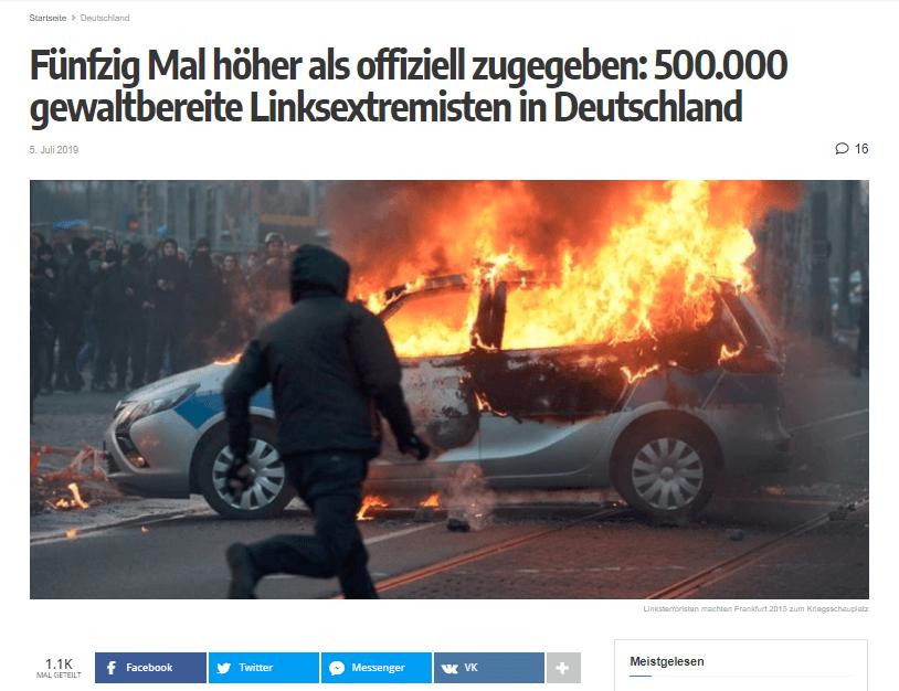 Nein, es gibt in Deutschland nicht 500.000 gewaltbereite Linksextremisten