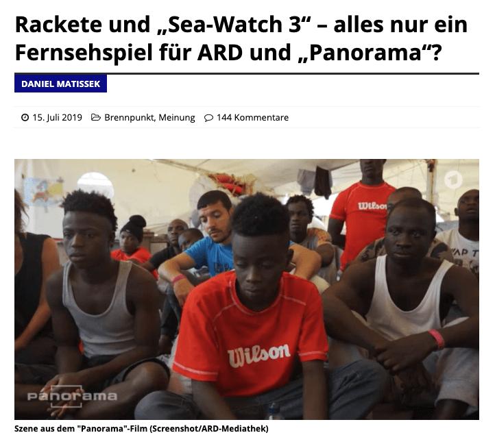 """""""Sea-Watch 3"""": Keine Belege dafür, dass """"Panorama""""-Dokumentation """"inszeniert"""" war"""