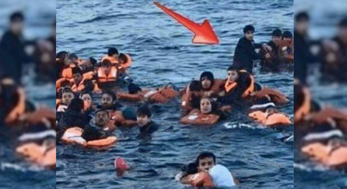 Bild flüchtling im Wasser