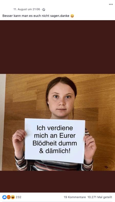 Manipuliertes Foto Von Greta Thunberg Wird Zehntausendfach