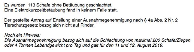 Ja, Niedersachsen erlaubte das Schächten von Schafen zum Opferfest 2019