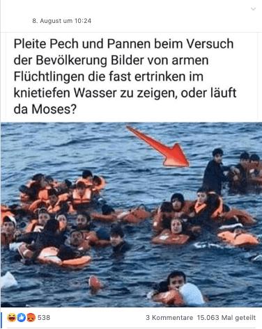 Keine Belege, dass oder worauf dieser Mann im Wasser steht – der Vorfall ereignete sich im offenen Meer