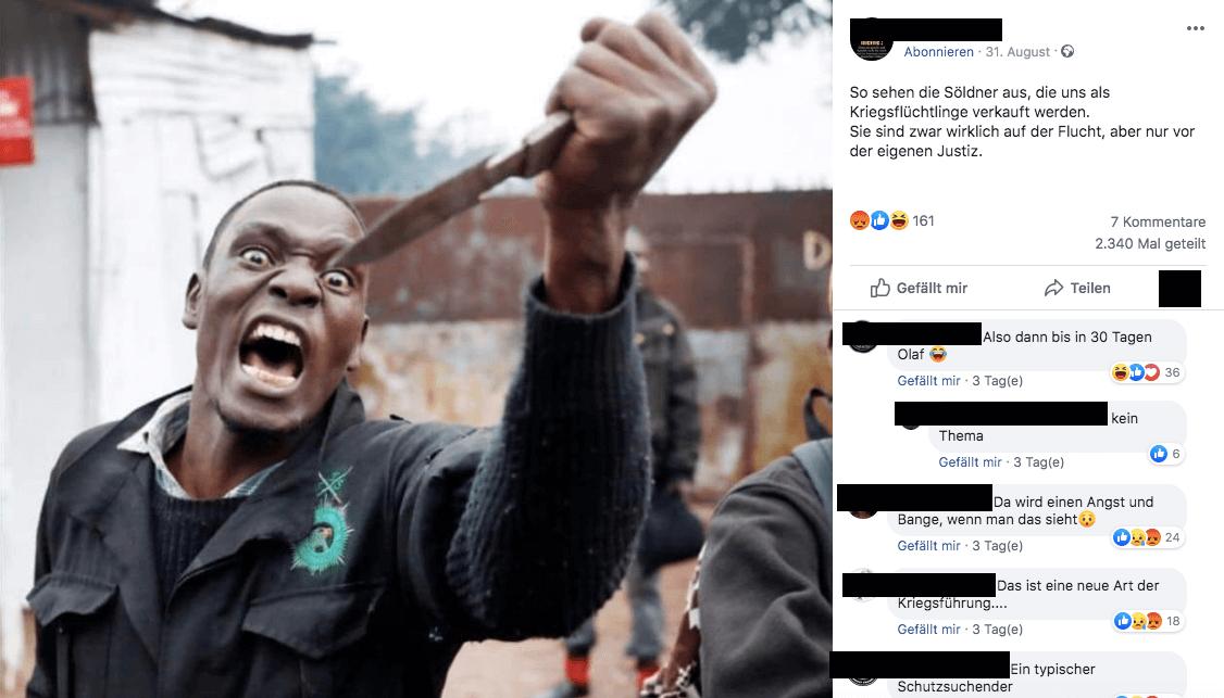 Dieses Foto zeigt keinen Kriegsflüchtling, sondern einen Demonstranten bei Unruhen in Kenia 2017
