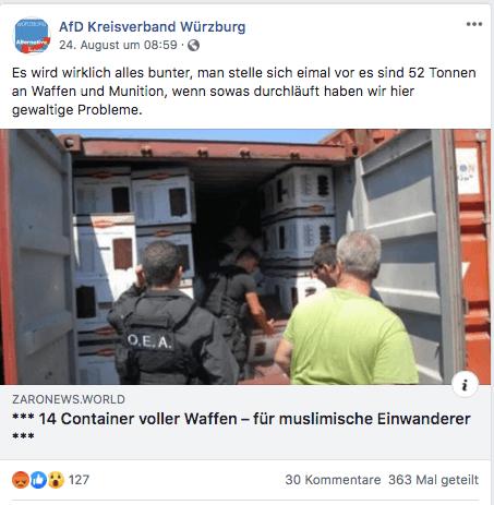 """Keine Waffen für """"muslimische Einwanderer"""": Container waren auf dem Weg nach Libyen"""
