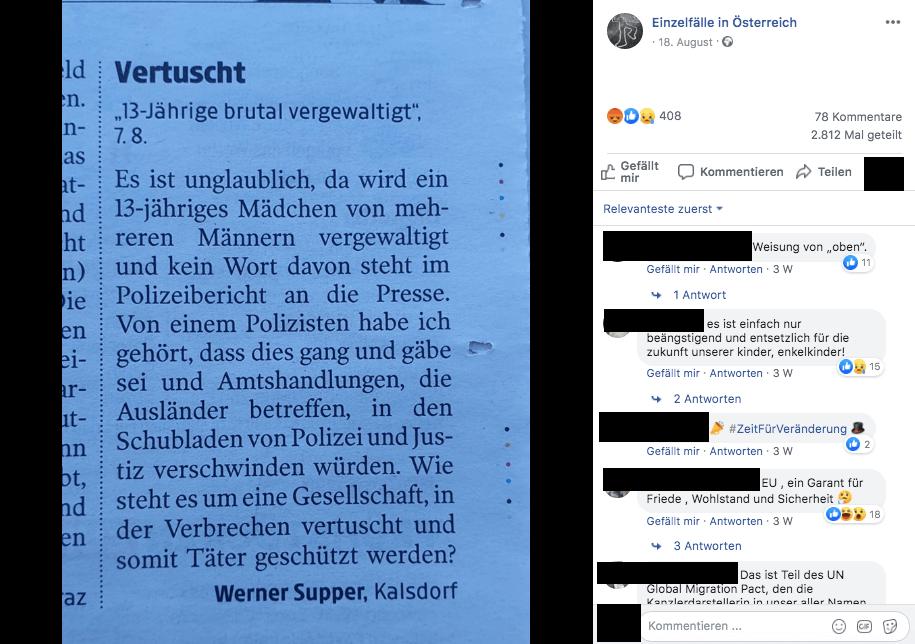 Die Polizei berichtete nicht über die Vergewaltigung einer 13-Jährigen in Graz – zum Schutz des Opfers