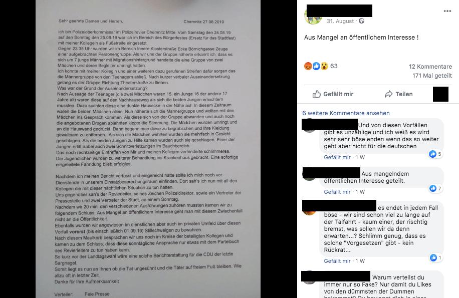 Der Brief eines angeblichen Kommissars aus Chemnitz ist eine Fälschung
