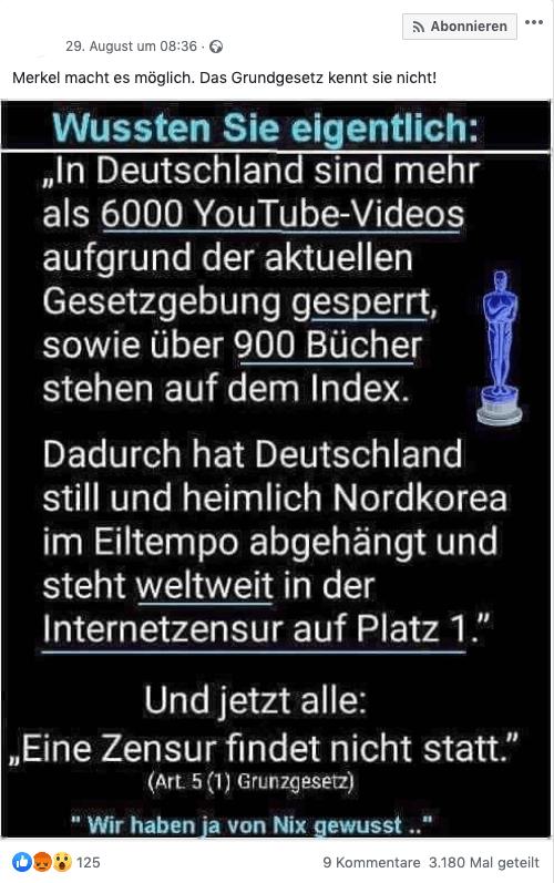 """Nein, Deutschland steht bei """"Internetzensur"""" nicht weltweit auf Platz eins – und schon gar nicht vor Nordkorea"""