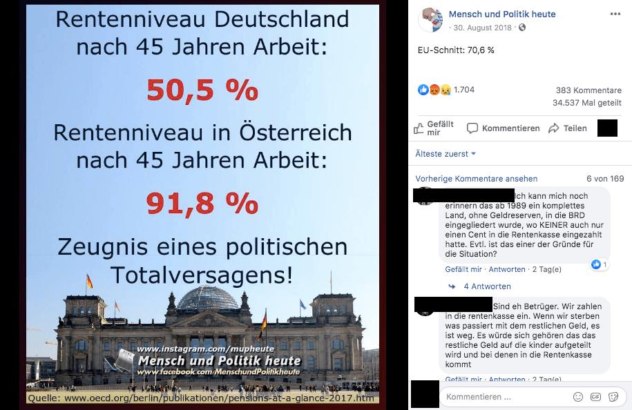 Ja, das Rentenniveau in Deutschland ist niedriger als in Österreich