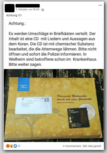 Nein, in Weilheim wurden keine Koran-CDs mit Chemikalien gefunden