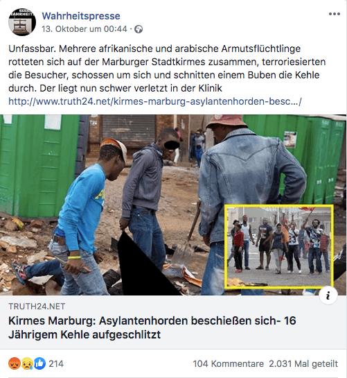 """Marburg: """"Truth24"""" verbreitet falsche Behauptungen zu Angriff auf der Kirmes"""