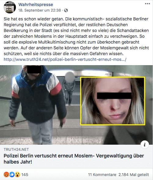 """Die Polizei Berlin fahndet nach einem Unbekannten – die Seite """"Truth24"""" macht aus ihm einen muslimischen Asylbewerber"""
