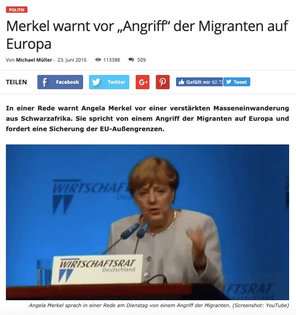 """Nein, Angela Merkel warnte nicht """"vor einem Angriff der Migranten auf Europa"""""""