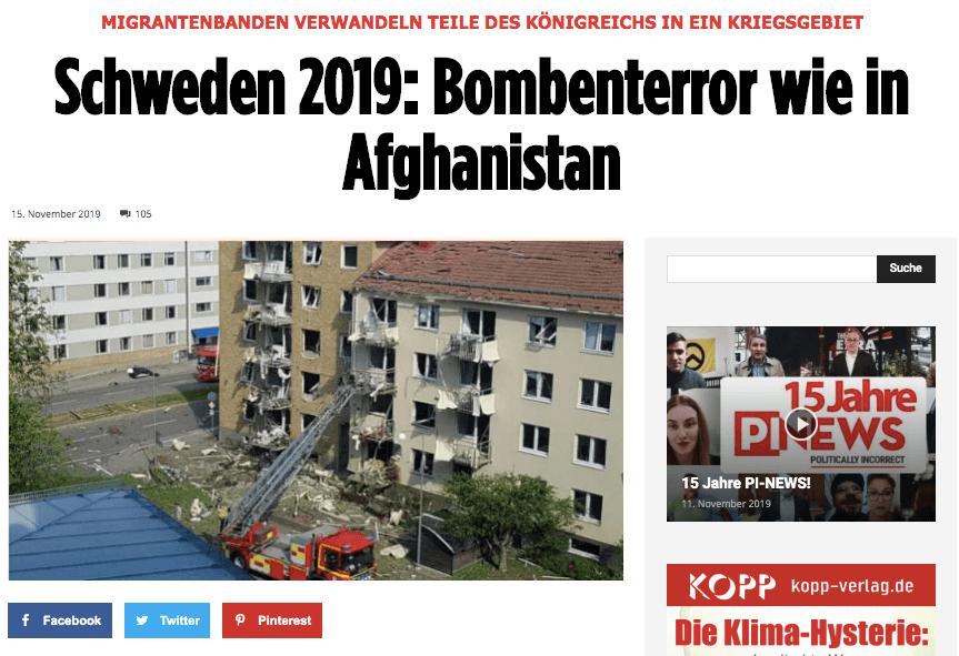 PI-News verbreitet irreführende Zahlen zu Kriminalität in Schweden