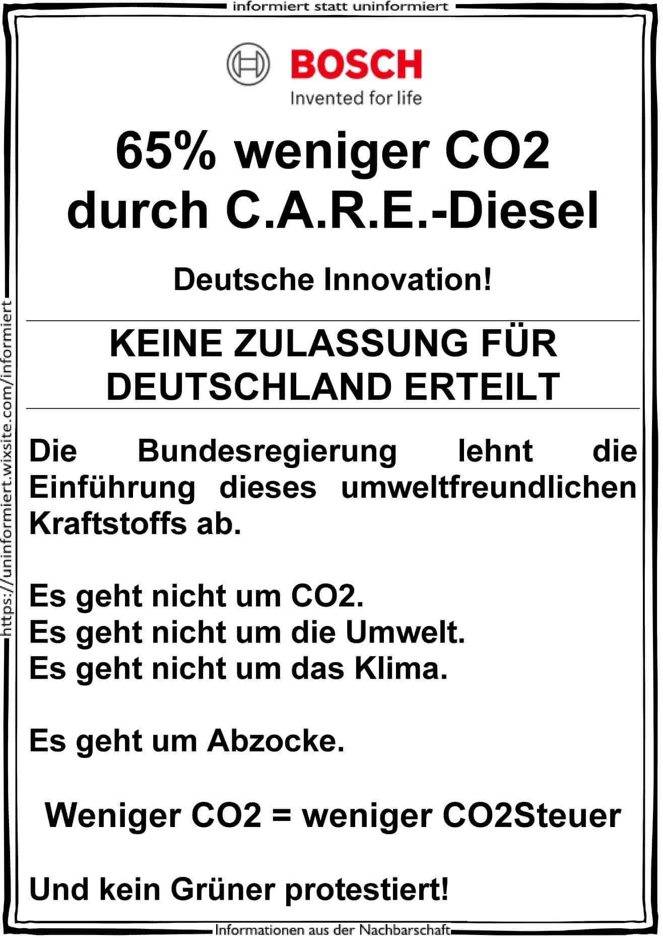 """Nein, """"C.A.R.E.-Diesel"""" ist weder eine """"deutsche Innovation"""", noch wird er von der Bundesregierung abgelehnt"""