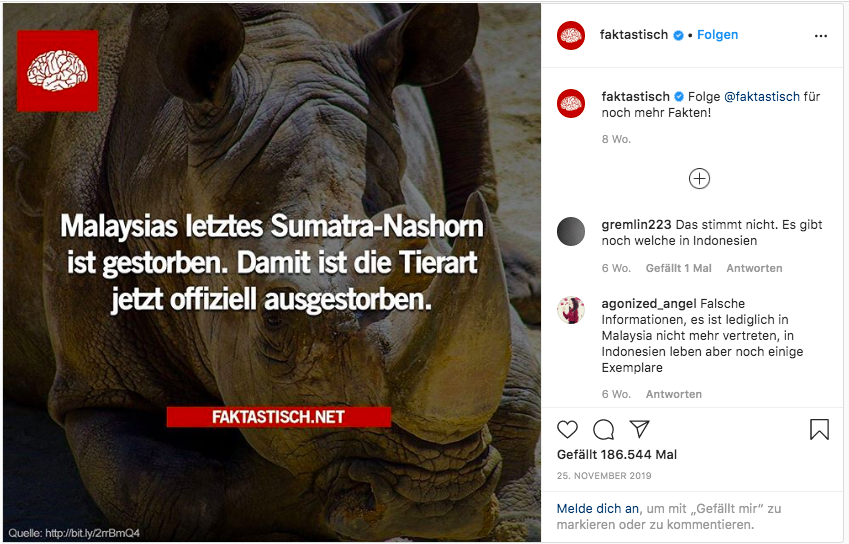 Nein, das Sumatra-Nashorn ist nicht ausgestorben