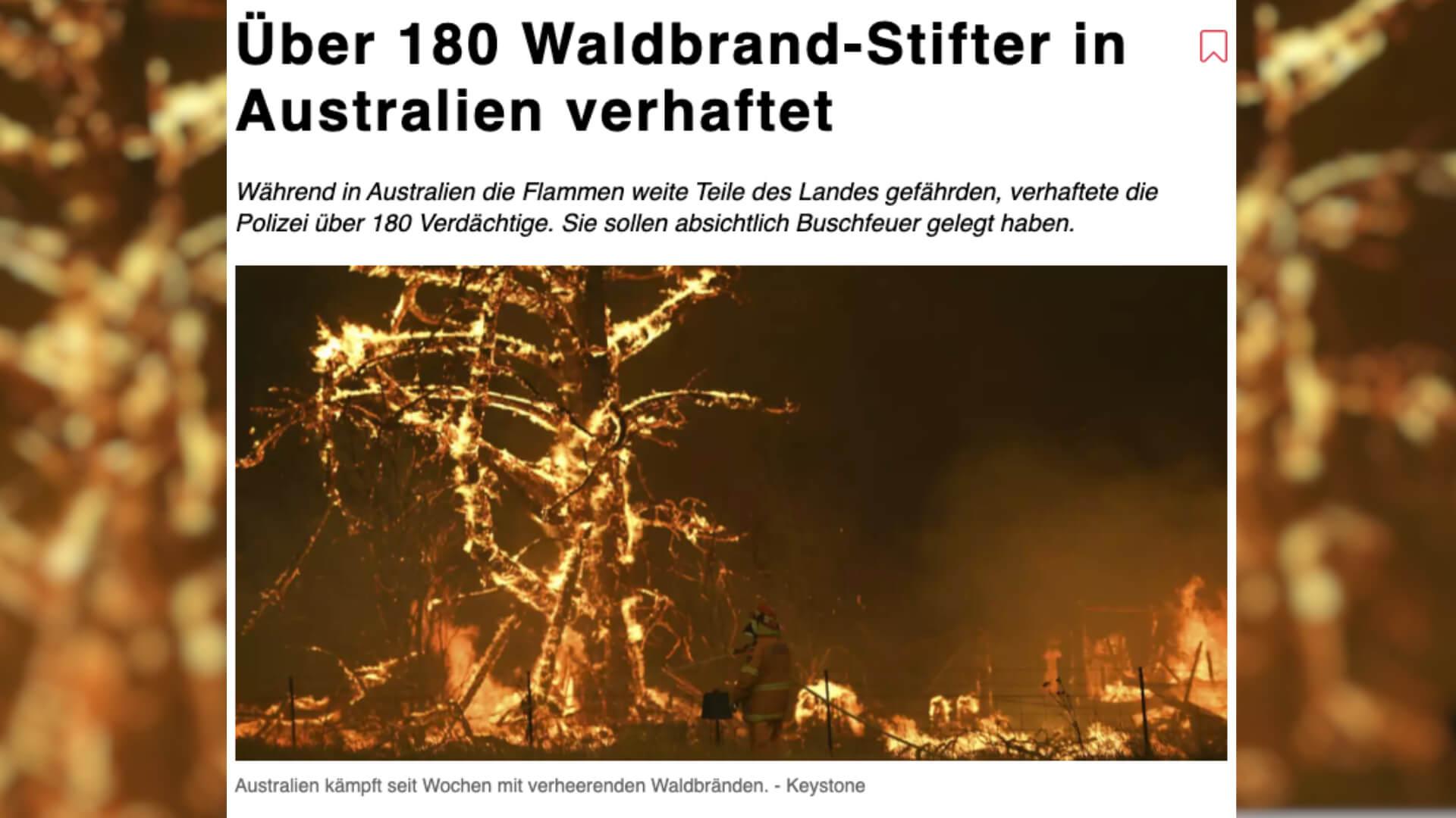 Buschbrände in Australien: Zahlen zu angeblich festgenommenen Brandstiftern sind irreführend