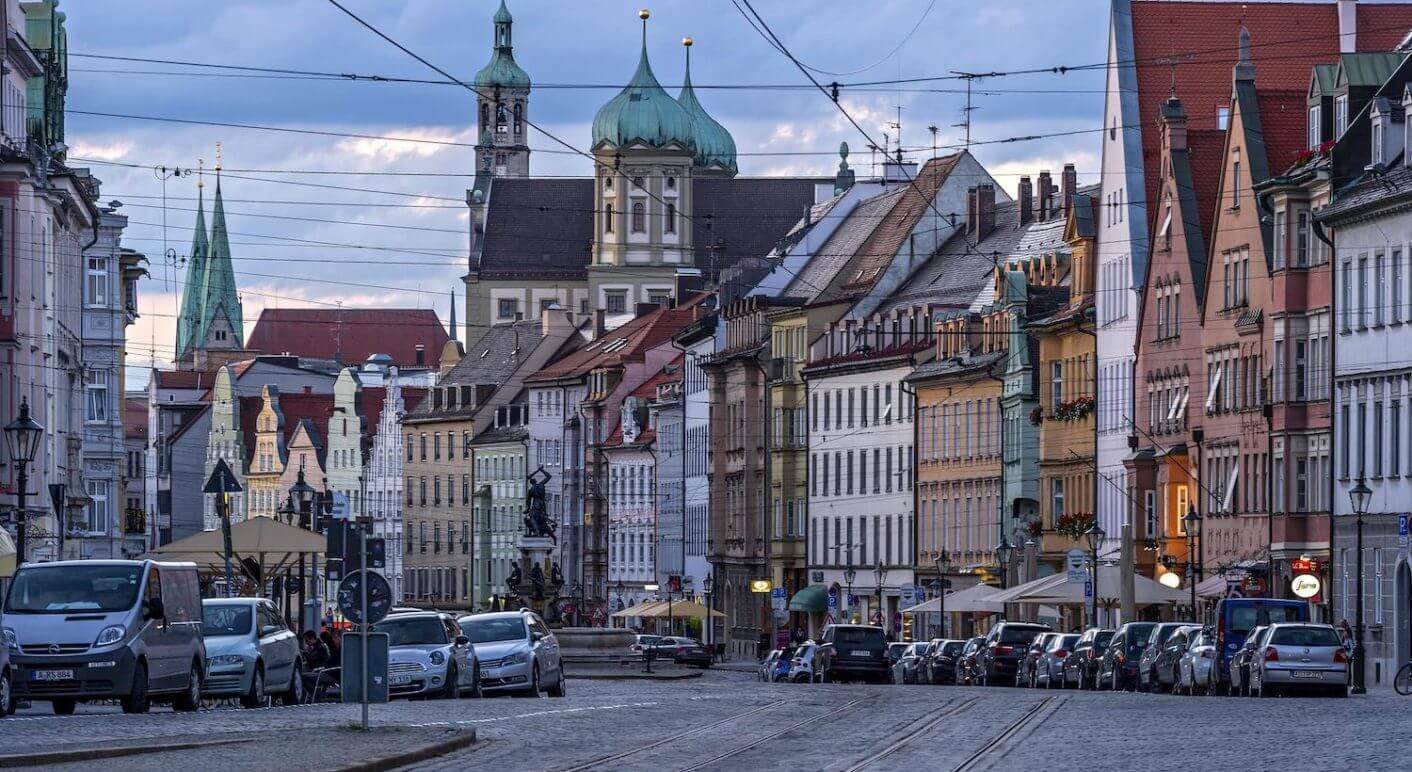 Dom Unserer Lieben Frau, Perlachturm, Rathaus, Herkulesbrunnen,  Abendlicht, Augsburg, Schwaben, Bayern, Deutschland, Europa