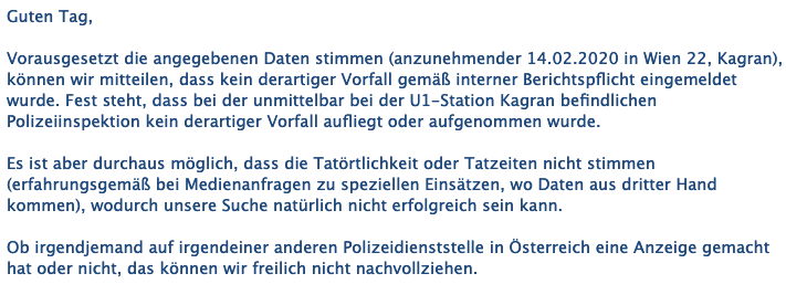 Eine E-Mail der Polizeidirektion Wien. (Screenshot: CORRECTIV)