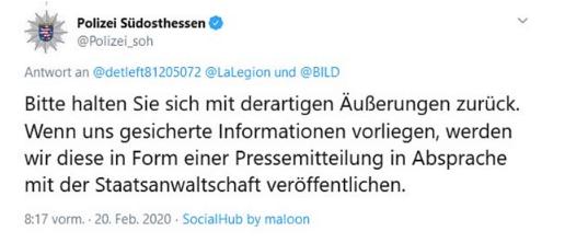"""Hanau: Die Polizei hat einen rechten Hintergrund nicht """"dementiert"""""""
