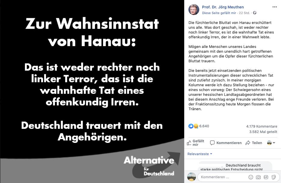Terroranschlag in Hanau: AfD-Chef Meuthen verbreitet irreführende Theorie zum Tatmotiv
